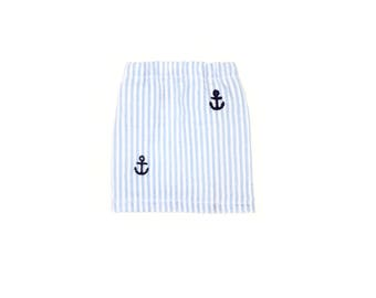 Mini Skirt, Anchors, Seersucker, Blue, White, Fits dolls such as AG Wellie Wishers Doll Clothes, 14.5 inch
