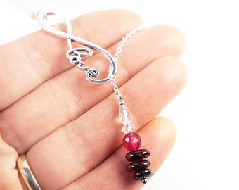 Women Gift for her Thin Sterling Silver Chain Lariat Y Necklace Infinity Pendant Birthstone Pink Gemstone Ruby Garnet Crystal Christmas Gift