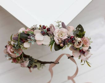 Dusty rose beige mauve flower crown Floral headband Bridal hair wreath Wedding flower halo Flower girl crown Photoprops  Pastel