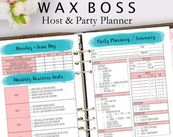 Wax Boss Business Planner, Wax Boss Party Planner, Home Business, Host Planning, Host and Party Planning Sales, Letter Size Instant Download