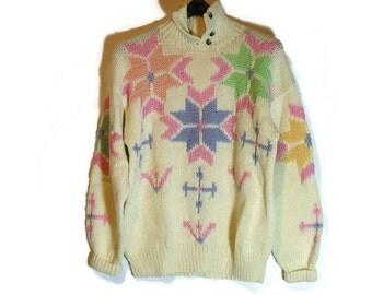 Women's Retro Ski Sweaters Obermeyer Vtg Ski Sweater 90's Snowflake Ski Sweater Woman's Vintage Ski Sweater Retro Ski Clothes Ski Sweater