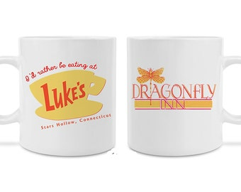 Gilmore Girls inspired 2 Pack - Luke's Diner Mug and Dragonfly Inn Printed on Both Sides Great Stocking Stuffer Birthday Gift