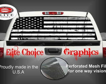 Black and White Distressed American Flag Rear Window Graphic Tint Decal Sticker Truck SUV Van Car