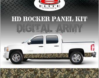 "Digital Army Camo Rocker Panel Graphic Decal Wrap Truck SUV - 12"" x 24FT"
