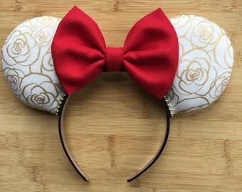 Belle Ears, Belle Mouse Ears, Belle Inspired Ears, Beauty and the Beast Ears, Custom Minnie Ears, Belle Minnie Ears