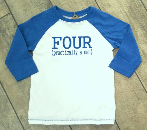 FOUR Practically A Man - toddler baseball raglan shirt - ONE OF A Kind - child/baby accessories - size 4T