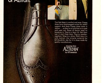 1968 Aztran shoes for men by Dr. scholl's Vintage magazine ad wall decor (1705)