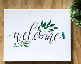 11 x 14 Hand-Painted Welcome Sign with branch/bird detail