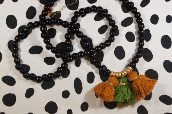 Brown and Green Three Tassel Necklace