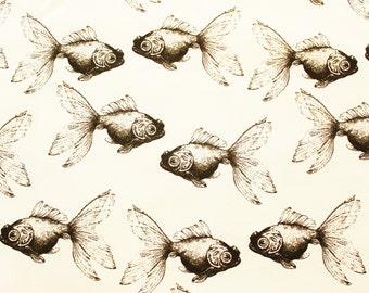 Fish Fabric, Japanese Canvas Fabric, Cotton Duck Fabric, Buzoku, Goldfish, Ivory, Handbag, Bags, Cushion Cover, Material, Half Metre