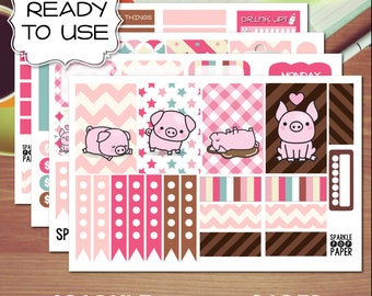 Pink Piggies Weekly Layout Stickers for MAMBI Happy Planner (Classic Size)
