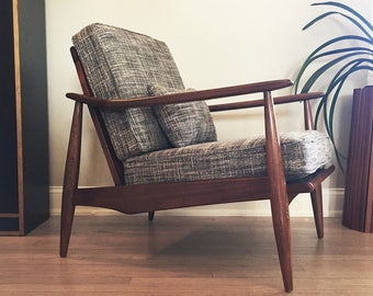 Vintage Mid Century Modern MCM Lounge Chair Danish Style 1950's Armchair Newly Refinished and Reupholstered  Steel Blue Woven Tweed Fabric