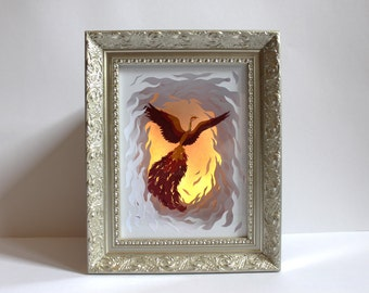 The Fire Bird. Illuminated Paper-cut Sculpture. 2016.