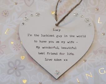 Wife Wedding day Gift Personalised Keepsake Heart