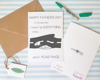 Cheeky Father's Day Card - Road Rage Cars Driving - Puns - Dad Jokes - Quirky Alternative Dad Card - Funny Happy Fathers Day - Charity Card