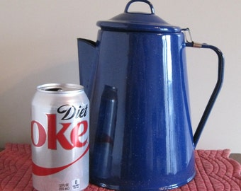 Coffee Pot, Blue Enamel Coffee Pot, Complete Coffee Pot