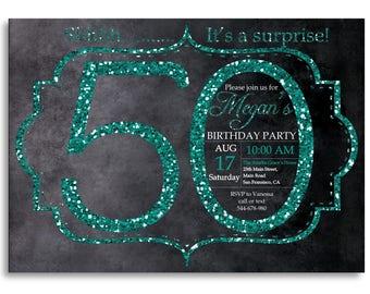 50th birthday invitation, Turquoise Glitter Birthday Party invite, Adult Surprise Birthday, Elegant, Aqua, Turquoise, Printable digital DIY