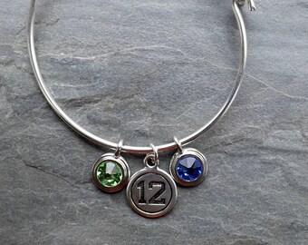 Seahawks inspired bangle bracelet / Silver Seahawks bracelet with Swarovski Crystals / Silver plated Seattle Seahawks jewelry