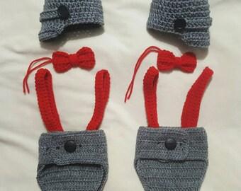 Crocheted newborn twin diaper cover set.