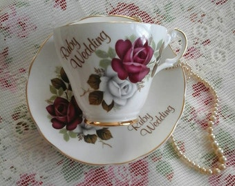 Ruby wedding gift, ruby wedding cup and saucer,ruby wedding, Argyle ruby wedding cup, vintage china, cup and saucer, vintage ruby wedding