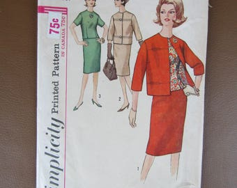 1960s Simplicity #5144 Pattern for MIsses/Womens Size 14 Suit an Overblouse