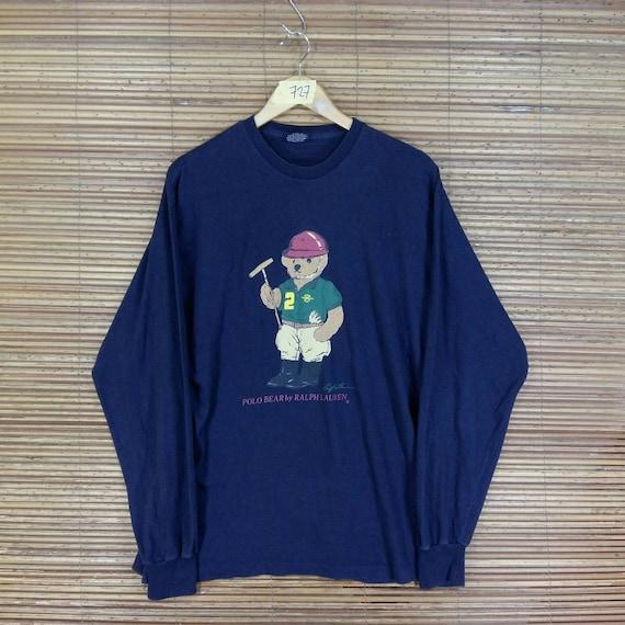 POLO BEAR T shirt Polo Ralph Lauren Medium Vintage 90's Ralph Lauren Bear Play Golf Blue Tee T shirt Polo Bear Polo Sport Shirt Size M YukX2f