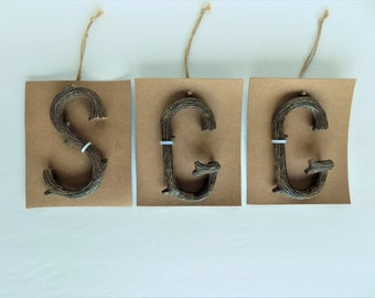 Faux Branch Letters ~ Tree Branch Ornaments ~ Letters S and G Ornaments