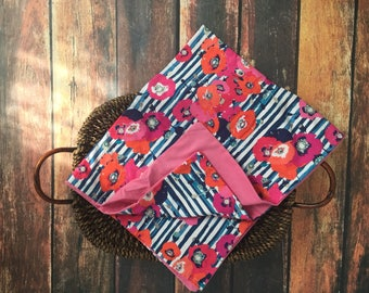 Designer floral and stripe baby blanket