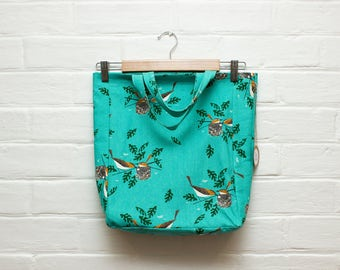Shopping Bag/ Tote/ Shopper/ Organic Cotton/ Canvas/ Print/ Red Eye Vireo/ Teal /Songbird/ Handmade