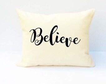 Word Pillow, Believe Pillow, Throw Pillow, Pillow With Saying, Phrase Pillow