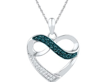 0.13 CT. T.W. Diamond Infinity Necklace, Infinite Love Necklace With White and Blue Diamonds, Love Jewelry