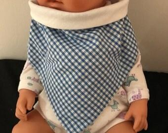 Blue gingham baby bib/bandana
