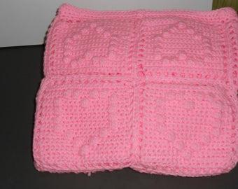 Pink Crochet Hearts - Baby Blanket