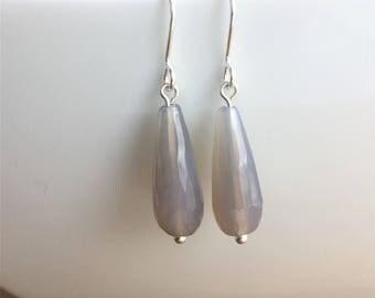 Grey agate earrings, gemstone earrings, grey earrings, handmade earrings, unique earrings, dangle and drop earrings, natural earrings
