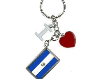 Flag Of El Salvador I Heart Love Keychain Key Ring