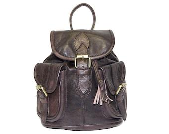 80's Style Mini Rucksack Backpack | Gloss Coco Leather