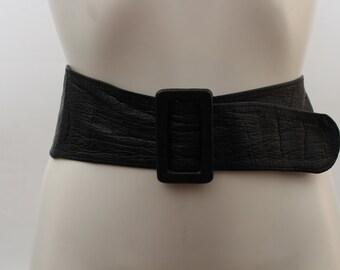 90s • Vintage • Faux Leather Belt • Black Belt • Faux Leather Waist Belt • Black Waist Belt • Womens Black Belt • Womens Black Waist Belt