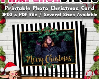 Printable Black and White Stripe Gold Frame Holly Garland Photo Christmas Greeting Card Digital File PDF and JPEG