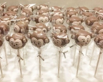 12 Monkey cake pops dessert table monkey decor birthdays monkey cakepops monkey cakepop kids gifts birthday party favors monkeys
