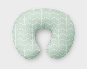 Mint Chevron Boppy Cover - mint and white- zipper closure on back - baby shower gift - mix and match - gender neutral boppy cover
