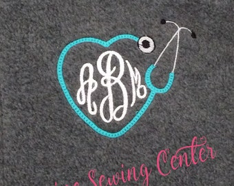 Personalized Heart Stethoscope Nurses Fleece Jacket. Monogrammed Nursing Student Jacket. Full Zipper Fleece Jacket. FZ-044