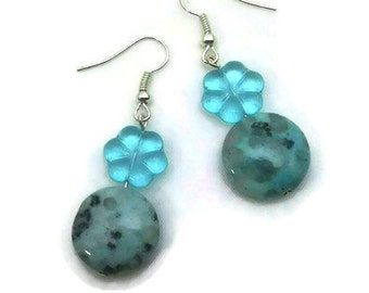 Clear Blue Glass Flower Bead with Speckled Stone Earrings