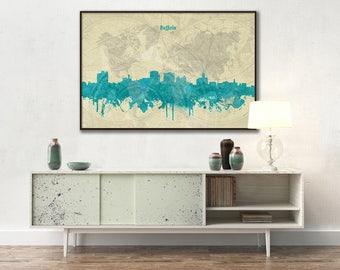 Buffalo skyline, Buffalo, Canvas, Print, Travel, Art, Home Decor, Painting, Vintage, Skyline, City prints