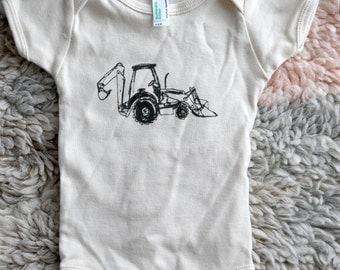 Digger Illustration Baby Onesie