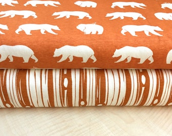 Bear Camp Orange Collection - Birch Fabrics - Knit Fat Quarter, Half Yard, or By the Yard Bundle