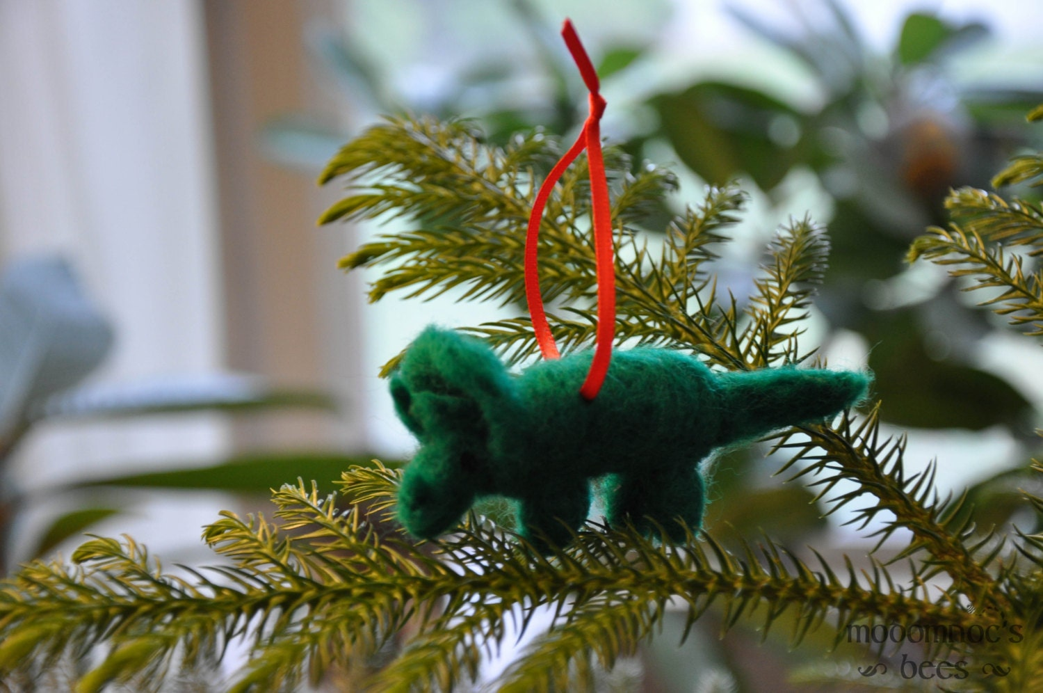 Dinosaur christmas ornaments - Dinosaur Needle Felted Wool Ornaments Triceratops And T Rex Available Individually Or As A Set