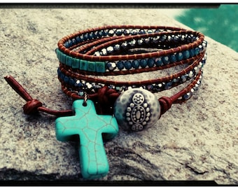 Rustic Cross - Beaded Leather Triple Wrap - With or Without Turquoise Cross/Metallic Silver Czech Beads/Blue Picasso Beads- Ladder Wrap