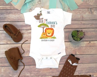 Fathers Day Gift From Son, 1st Fathers Day Onesie®, First Fathers Day Gift from Baby, Lion Onesie,Happy Fathers Day Baby Bodysuit Dad Onesie