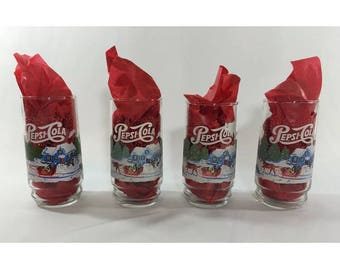 Pepsi-Cola Christmas Holiday Collectible Drinking Glasses, Set of Four, Vintage Glassware, Pepsi-Cola Collectibles, Winter Pepsi Glasses