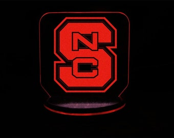 NC State (North Carolina State) University Wolfpack inspired color changing LED night light / lamp for desks, bars, man caves, night stands,